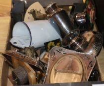 A group of metalware etc