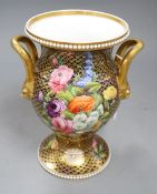 A Spode porcelain vase, c.1815, with baluster handles, height 21.5cm pattern number 1166