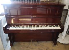 A mahogany upright piano by B. Squire, W.144cm