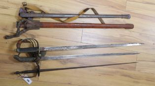 An 1822 pattern officer's infantry sword, a Prussian officer's sword and a court sword