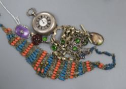 A 1950' silver, enamel and paste set brooch, a green paste necklace and other jewellery, including a