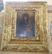 Giovanni De Marchi, oil on copper, Madonna and child, inscribed verso and dated 1888, 21 x 15.5cm