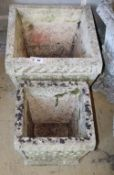 A graduated pair of square garden planters, larger W.40cm, H.34cm