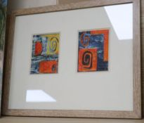 Attributed to John Piper, mixed media on paper, Studies for murals for North Thames Gas Board, typed