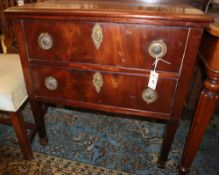 A 19th century Continental mahogany chest, W.76cm, D.45cm, H.77cm