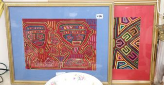 Two framed South American fabric remnants