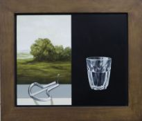 Alan Macdonald (1962-), oil on board, 'Watering Hole 2000', label verso, 33 x 40cm