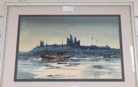 Ronald Lambert Moore (1927-1992), watercolour, Dunstanburgh Castle, Northumberland, signed, 31 x