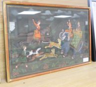 An Indian painted silk panel of a tiger hunt, 36 x 56cm