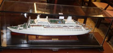 A model of the cruise ship 'Discovery', in case (the vessel was built in 1971 and refurbished in