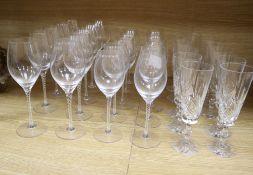 Twenty air twist stemmed wine glasses and eleven cut glass champagne flutes (31)