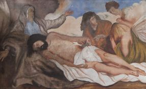 Philippe Fr., oil on canvas, Disciples with the body of Christ, signed, 56 x 89cm,unframed