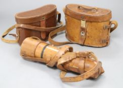 """A Parker and Co. """"100 yard spotter"""" three draw telescope and two pairs of binoculars"""