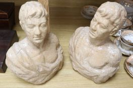 Two pink glass ceramic busts, tallest 33cm