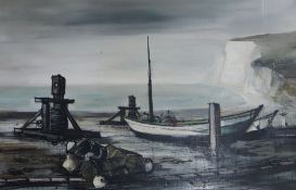 Franc B., oil on canvas, Fishing boat at low tide, signed and dated '63, 65 x 99cm, unframed