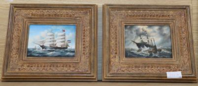 H Neilson, a pair of modern oils on board, Shipping scenes, 12 x 17cm