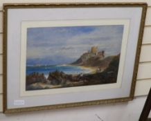 Sarah Johnson, watercolour, Bamburgh Castle, signed, 32 x 48cm