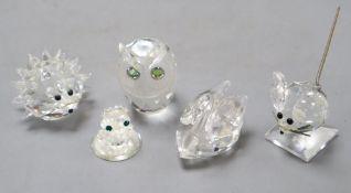 A collection of Swarovski animals