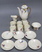 A Royal Doulton Art Deco porcelain coffee set, with geometric pattern, coffee pot 20.5cm