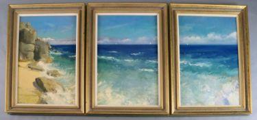 Paul Brown (20th C.), set of three oils on canvas, Coastal landscape, one signed, each 74 x 49cm