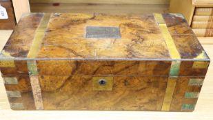 A George III burr walnut brass bound writing slope, length 50cm