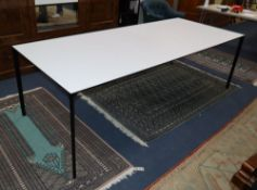 Conran Contract. A rectangular white laminate table on black powder coated frame, W.240cm, W.90cm,