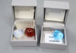 Three Lalique glass cabochon rings