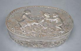 A late 19th century German Hanau embossed white metal oval box, J.D. Schleissner & Sohne, 16.2cm,