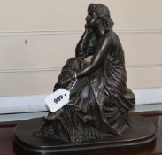 A classical composition figure of a seated girl, signed Schanewerk