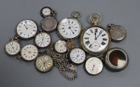 A collection of assorted fob and pocket watches including silver.