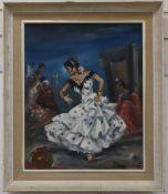Spanish School, oil on canvas, Flamenco dancer, 55 x 45cm.