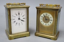 Two brass bound carriage timepieces, one with an enamelled dial, tallest 12cm with handle down