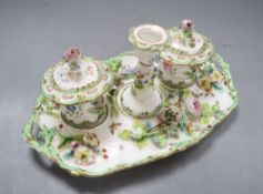 A Minton floral encrusted inkstand, pattern no.7401, overall length 27.5cm