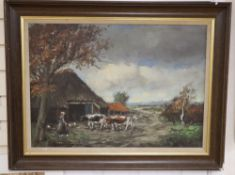 Dutch School c1900, oil on canvas, Woman with chickens and cattle, indistinctly signed, 48 x 68cm