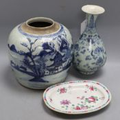 A Chinese blue and white ginger jar, height 21cm, a Chinese vase and an oval dish