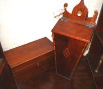 A George III mahogany tea caddy and a candle box
