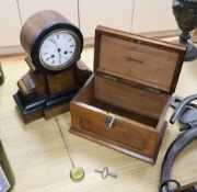 A walnut mantel clock and a late Victorian oak money box, width 24cm