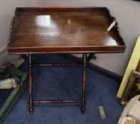 A 19th century butler's tray and stand, W.69cm, D.46cm, H.76cm