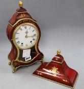 A red japanned bracket clock, height 32cm (clock)