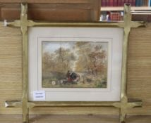 Circle of George Turner of Derby, watercolour, Figures camping in woodland, 15 x 21cm