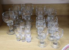 Holmegaard, Denmark, a part suite of 'Hunter' table glass (15 pieces) and a set of seven Kosta