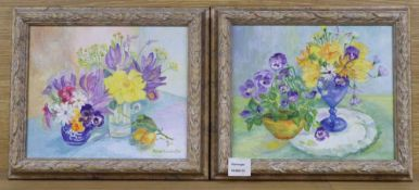 Anne Sourbutts, pair oils on canvas, Still lifes of flowers in vases, 24 x 29cm