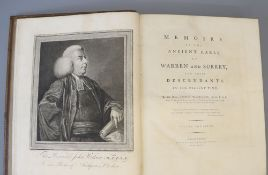 Watson, John - Memoirs of the Ancient Earls of Warren and Surrey, 1st edition, 2 vols, qto, diced