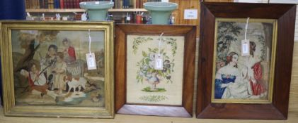 Three framed needlework pictures, largest 38 x 33cm