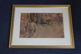 Albert Ludovici (1820-1894), watercolour, Figures and carriage in St. James Square, 26 x 43cm signed