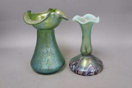 Two Loetz-style iridescent glass vases, tallest 20cm