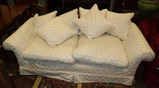A contemporary upholstered two seater settee by Highly Sprung, length 220cm (See Lot 57)