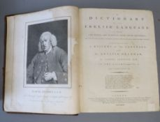 Johnson, Samuel - A Dictionary of the English Language, 6th edition, 2 vols, qto, old calf, torn and