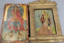 Two 19th century Russian icons, largest 18 x 12cm