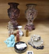 A group of Chinese soapstone carvings and seals, tallest 20cm